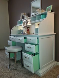 -Roll top desk makeover- Surprise mint drawers!