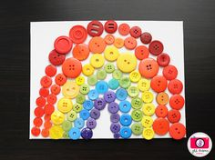 Button Rainbow!  I love buttons and think that crafts using buttons as a medium (vs. crayons or paint) add a great dimension to the project. Plus, helps with fine motor skills.