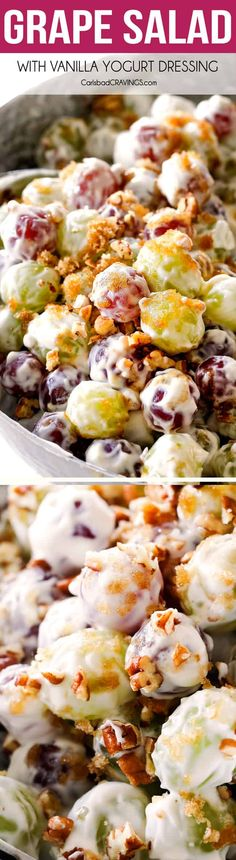 """Grape Salad is the EASIEST """"salad"""" you will ever make with only 5 minutes of prep! It's simple, sweet and creamy, cool and refreshing and so good I was eating for breakfast, lunch and dinner! It keeps fabulously well, is make ahead friendly and can be served as a side dish or dessert for all your summer potlucks, barbecues and parties! via @carlsbadcraving"""