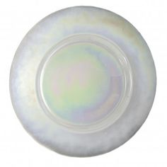 """Luster Charger.  13.125"""" round plate, irridescent opaque glass.  From 10 Strawberry Street"""