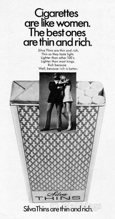 Silva Thin Cigarettes 1970 #vintageads #Ads #vintage #PrintAd #tvads #advertising #BrandScience #influence #online #Facebook #submissions #marketing #advertising