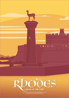 Vintage Illustrations The castle at the port, Rhodes (Greece). Places To Travel, Places To Go, Rhodes, Illustrations And Posters, Vintage Illustrations, Travel Illustration, Advertising Poster, Vintage Travel Posters, Grafik Design
