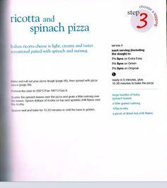Ricotta & spinach pizza Slimming World Pizza, Spinach Pizza, Italian Cheese, Ricotta