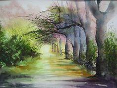 Nature & Campagnes - Patrick Laureys Juliette, Watercolours, Landscape Art, Watercolor Art, Romantic, Painting, Nature, Paths, Drill Bit