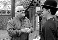 """iwantcupcakes: """" """" Richard Attenborough and Robert Downey Jr., on the set of Chaplin. """" """" This is just so adorable. RDJ is giving off such a tramp vibe in the bottom gif."""