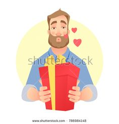 Man gives a gift. Air kiss. Man holding red present box. Stock photography, images, pictures, Illustrations, ideas. Download vector illustrations and photos on Shutterstock, Istockphoto, Fotolia, Adobe, Dreamstime