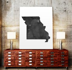 USA MAP PRINTABLE Missouri watercolor Iowa print by TypoWorld