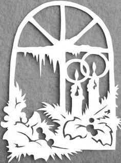 Vianočné vystrihovačky ✄ - Album používateľky mery333 - Foto 26 Christmas Window Decorations, Homemade Christmas Decorations, Christmas Paper Crafts, Christmas Art, Christmas Projects, Christmas Ornaments, Paper Cutting Templates, Christmas Stencils, Scroll Saw Patterns