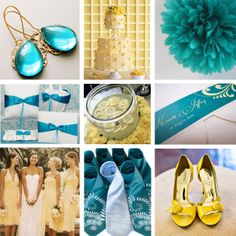 teal, pale yellow, gold, bright yellow