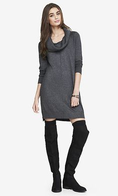 COWL NECK SWEATER DRESS - HEATHER GRAY