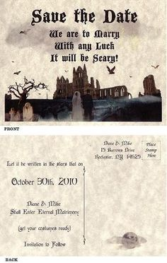 $12.49 for qty 25 Save the Dates -Halloween costume wedding anniversary birthday by handykane~ I Love these!