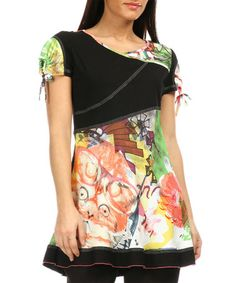 Look at this #zulilyfind! Orange & Black Abstract Tie-Sleeve Tunic - Women & Plus #zulilyfinds