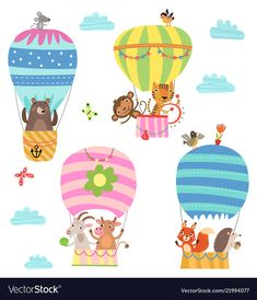 Find flying animals cute illustration stock vectors and royalty free photos in HD. Explore millions of stock photos, images, illustrations, and vectors in the Shutterstock creative collection. Flying Balloon, Air Balloon, Cool Cartoons, Cartoon Fun, Cute Illustration, Balloon Illustration, Vector Free, Vector Stock, Royalty Free Photos