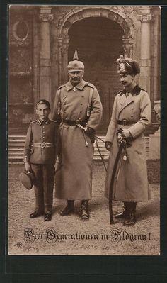 alte AK Kaiser Wilhelm II. von Preußen mit seinem Sohn und seinem Enkel