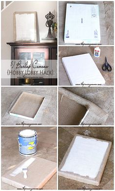 DIY $1 Burlap Canvas {Hobby Lobby hack} I can't believe how easy this is to make.  Even I can do it!
