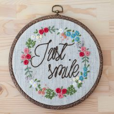 Just Smile 20 cm embroidery hoop by KEDISHOP on Etsy