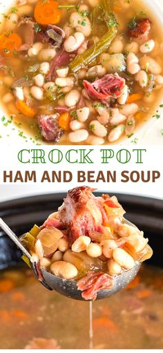A delicious crock pot ham and bean soup made with either a ham bone with meat attached or a ham hock. This is comfort food. A delicious crock pot ham and bean soup made with either a ham bone with meat attached or a ham hock. This is comfort food. Crock Pot Slow Cooker, Crock Pot Cooking, Cooking Recipes, Crockpot Recipes, Ham Hock Slow Cooker, Crockpot Ham And Beans, Ham Hocks And Beans, Crock Pot Beans, Bean Soup Recipes