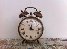 Shabby Vintage Jerger Alarm Clock  Cream and Bronze by BlueBayCafe, $8.00