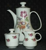 Meissen Rose Colditz Pottery GDR Coffee Service
