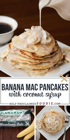 Pretend you're eating breakfast on a gorgeous tropical island when you make these Banana Mac Pancakes with Coconut Syrup that your entire family will love. #bananapancakes #coconutsyrup #macadamia #recipe #tropical #easy Kitchen Recipes, Baking Recipes, Vegan Recipes, Chickpea Recipes, Avocado Recipes, Beef Recipes, Fruit Pancakes, Crepes And Waffles, Homemade Desserts