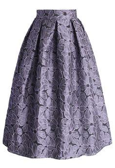 Shading Flower Embossed Midi Skirt