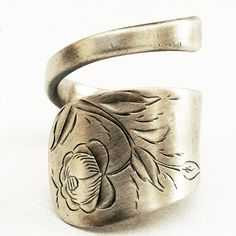 Spoon Ring with Hand Engraved Flowers in Sterling by Spoonier, $47.00
