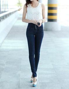 Hot sale!Pants female skinny jeans trousers high waist jeans women