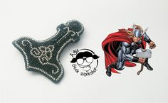Thor. Bead embroidery brooch