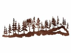 """84"""" Large Pine Tree Forest Metal Wall Art"""