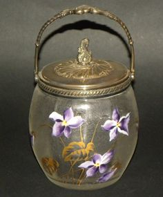 FRENCH ART NOUVEAU FROSTED & ENAMELED GLASS BISCUIT JAR BY DAUM OR LEGRAS