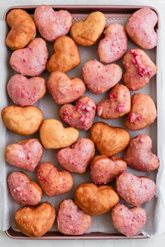 Deliciously puffy and fried strawberry heart donuts that can be made dairy free! Glaze them or leave them plain, either way you can't go wrong! Oven Recipes, Donut Recipes, Steak Recipes, Chicken Recipes, Dinner Recipes, Dessert Recipes, Cooking Recipes, Healthy Recipes, Kale Recipes