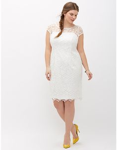 Lace cap-sleeve dress by Adrianna Papell | Lane Bryant