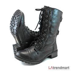 Military Combat Mid Calf Motorcycle Lace Up Women Boots Zipper Soda Dome Black | Clothing, Shoes & Accessories, Women's Shoes, Boots | eBay! #MilitaryHatsForWomen #midcalfboots