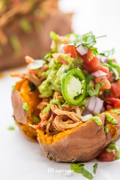 These Whole30 Instant Pot Mexican stuffed sweet potatoes are quick and easy but packed with flavor. The perfect Whole30 Mexican recipe for a midweek fiesta!