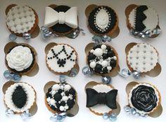 Black and white elegant cupcakes