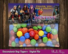 Descendants 2 Favor Bag Toppers Personalized BIRTHDAY party