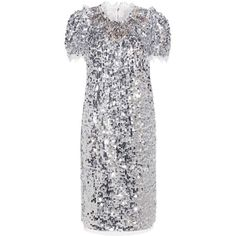Dolce & Gabbana Sequinned Dress (€5.570) ❤ liked on Polyvore featuring dresses, silver, silver dress, silver cocktail dress, sequin dresses, silver sequin cocktail dress and silver sequin dress