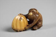 Netsuke of Monkey with a Chestnut, 19th century