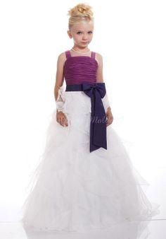 Straps Bowknot Long Junior Organza Princess Bridesmaid Dress