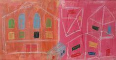 """Arkitekt IV"" no 57 Copyright  Www.anne-mette.com  #copyright #copyrightphotos #www.anne-mette.com  #painting #silverframe #arkitektur #barnlig #tegning #childish #drawing #houses #huse #orange #pink #maleri #oilsticks #oliekridt #acrylicpainting #akrylmaleri #danishartist #danishartist #danishpainting #kunst #kunstner #maleri #artgallery #email #kunst@anne-mette.com #www.anne-mette.com"