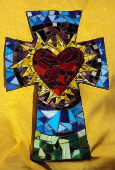 Large Mosaic Cross with Multicolored Sacred Heart. $90.00, via Etsy.