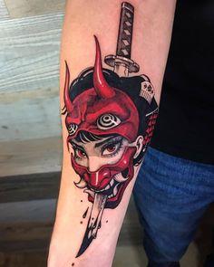 Oni Tattoo, Hannya Maske Tattoo, Hanya Tattoo, Tattoo Ink, Dope Tattoos, Black Tattoos, Body Art Tattoos, Tattos, Japanese Tattoo Designs