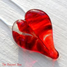 Broken Heart Pendant Glass Jewelry Necklace by UntamedRose on Etsy, $25.00