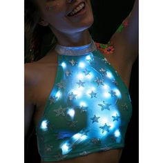 J Valentine Star Voyage Light-Up Halter Top ($33) ❤ liked on Polyvore featuring tops, crop top, sheer mesh top, sequin halter top, blue sequin top, tie halter top and sequin top
