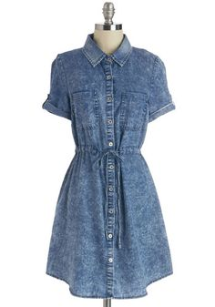 Game Night of My Life Dress. Youre ready to play the night away in this cute chambray shirt dress! #blue #modcloth