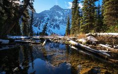 Download wallpapers spring, mountain landscape, snow, lake, Alberta, Banff National Park, Canada