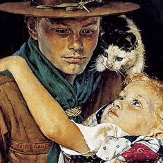 1941 ... A Scout is Helpful (detail)- Norman Rockwell