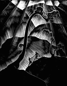 """Lynd Ward's Gods' Manis the first of six """"wordless novels"""" he created. Made in 1929, Ward's novels, along with the novels of Franz Masereel & Otto Nuckel, are thought to be some of the earliest graphic novels, despite Ward reporting that he never read comics. The novels are made out of wood engravings & Ward's woodcuts are dramatic, featuring a combination of Art Deco & Expressionism."""