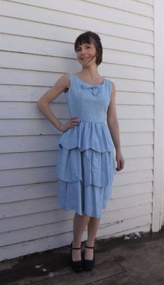 Vintage Blue Party Dress Prom Formal 60s Sleeveless by soulrust
