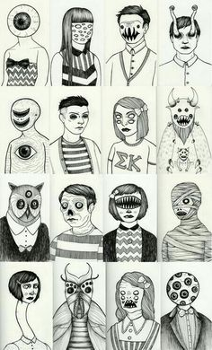 rather creepy illustrations. Art And Illustration, Illustration Inspiration, Dark Art Illustrations, Monster Illustration, Art Journal Inspiration, Creepy Art, Weird Art, Drawing Sketches, Art Drawings